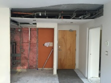 Showing the division of bathroom and closet remaining.