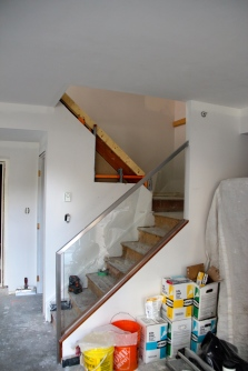 Stairs framed out, old glass in place
